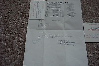 2 Northern Nomads Fc Tickets + Letter 1958/62