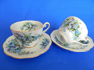 2 Vintage Bone China Cups & Saucers * Royal Standard Forget - Me - Not *blues