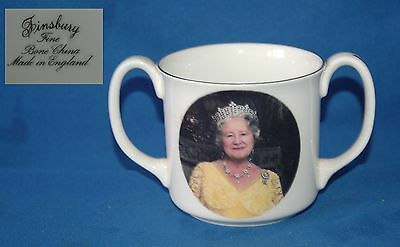 Finsbury bone china loving 2 handled cup Queen Mother 90th Birthday