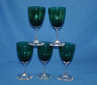 Five vintage green glass port/sherry glasses