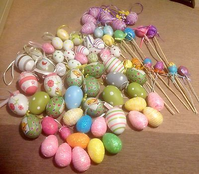 Decorative Easter Eggs - 77 - Assorted - Sizes ( Hen ) ( Bantam ) Not Real Eggs.