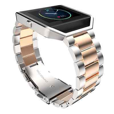 US Stailess Steel Bracelet Strap Watch Band For Fitbit Blaze Rose Gold + Silver