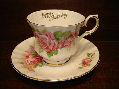 Vintage Bone China Cup & Saucer, Queen Anne, Happy Birthday, Pink Roses, England