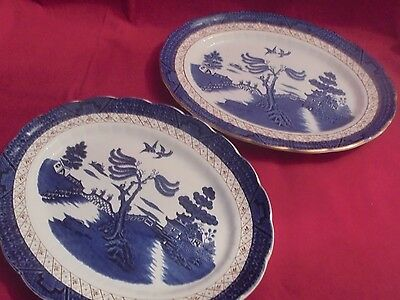 Booths Real Old  Willow Serving Plates x 2