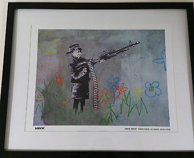 Banksy Print Limited Edition Framed Crayon Shooter Brand New Latest Images