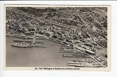 New Zealand Air View Wellington and Harbour Postcard Posted 1954 Stamps