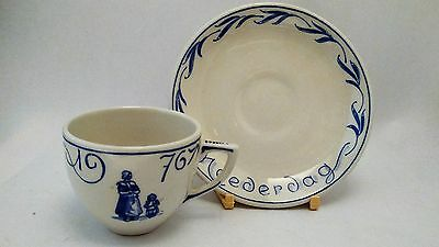 VERY RARE Royal Delft Handpainted Moederdag Mother's Day 1976 Cup & Saucer Set