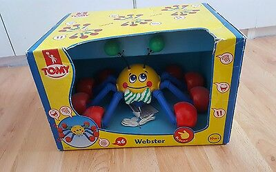 Vintage Tomy Large Webster Spider 1990's Pull Toy Sounds - VERY RARE COLLECTORS