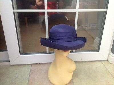 Ladies Vintage Navy Hat Weddings/races/special Occ's,good Condition.by Eastex