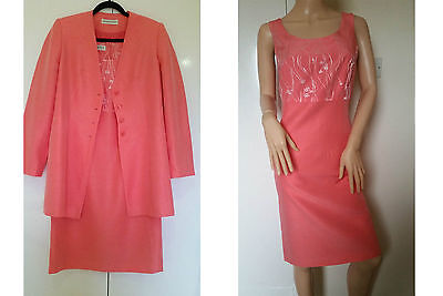 Jacques Vert Salmon Pink Mother Of The Bride Pencil Dress & Jacket