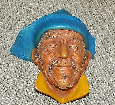 Vintage Retro Kitsch 1960s Bossons Chalkware Head Sardinian Wall Plaque Signed