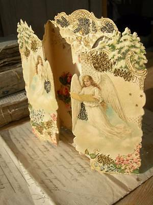Antique French Victorian die cut communion card 3D paper lace 1890s