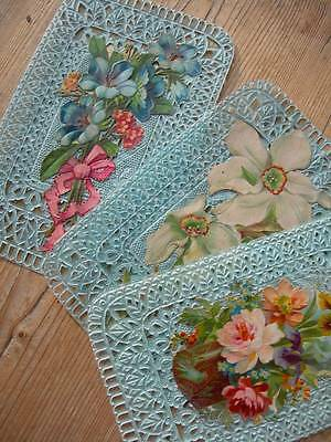 Collection 3 antique French Victorian die-cut paper lace scraps 1890s