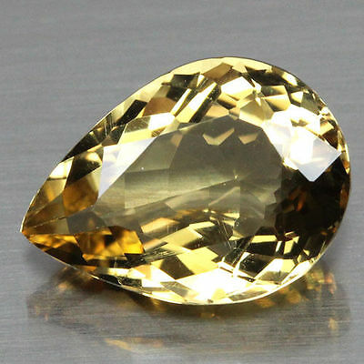 10x7mm PEAR-FACET NATURAL BRAZILIAN GOLDEN CITRINE GEMSTONE £1 NR!