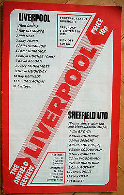 LIVERPOOL v SHEFFIELD UNITED DIVISION ONE 6th Sept. 1975