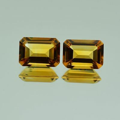A PAIR OF 5x3mm OCTAGON-FACET NATURAL BRAZILIAN GOLDEN CITRINE GEMSTONES £1 NR!