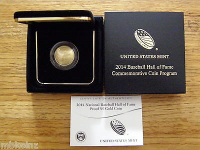 2014 National Baseball Hall Of Fame Proof $5 Gold Coin (B31)