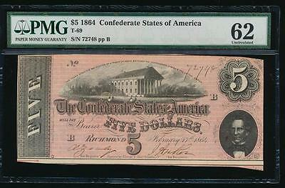 AC T-69 $5 1864 Confederate Currency CSA PMG 62