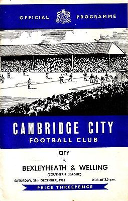 CAMBRIDGE CITY v BEXLEYHEATH & WELLING 1962/63 SOUTHERN LEAGUE