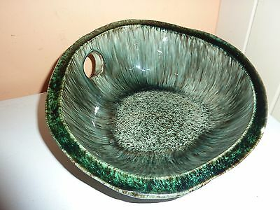 1960/70's French Accolay Art Pottery 24.5Cm Long Bowl With Streaky Green Pattern
