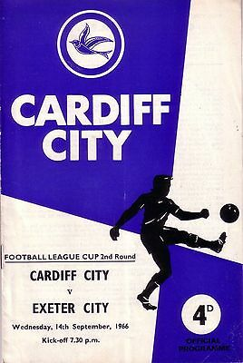 CARDIFF v EXETER 1966/67 LEAGUE CUP