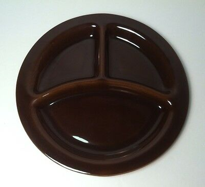 "Bauer Pottery Plain Ware Grill Divided Plate 10.5"" brown"