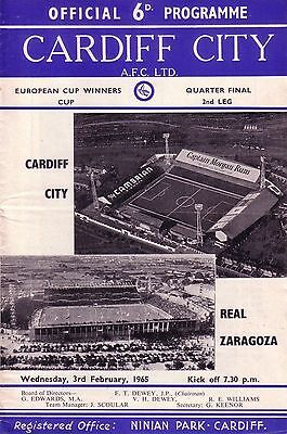 CARDIFF v REAL ZARAGOZA 1964/65 CUP WINNERS CUP