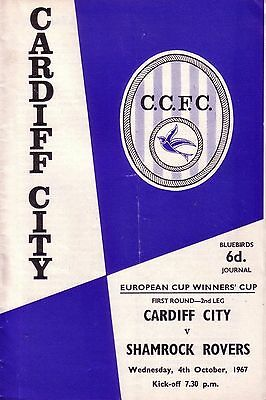 CARDIFF v SHAMROCK ROVERS 1967/68 CUP WINNERS CUP