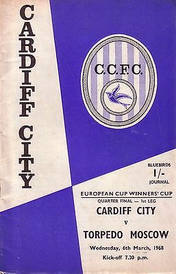 CARDIFF v TORPEDO MOSCOW 1967/68 CUP WINNERS CUP (inc.FLR)
