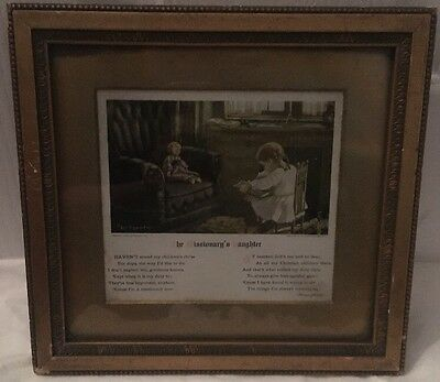 Cute Antique Gold Framed Mary Sigsbeeker The Missionary's Daughter Print Picture