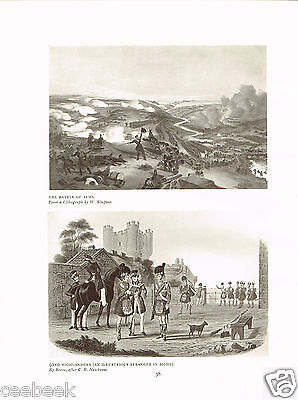 The Battle Of Alma & 92nd Highlanders Antique Military Picture Print
