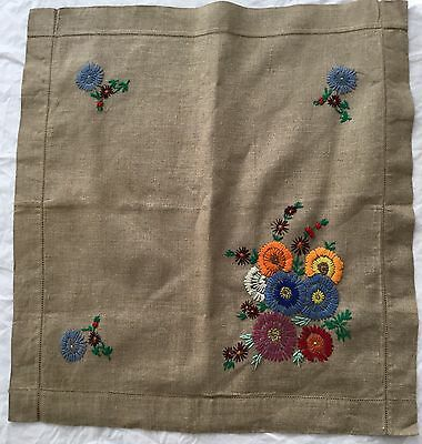Vintage Linen Embroidered Cushion Cover