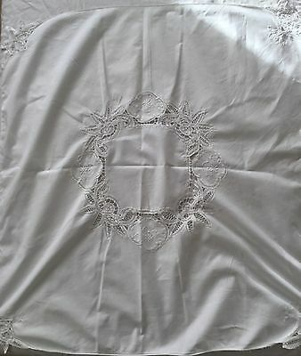 Vintage All White Cotton Embroidered Table Cloth