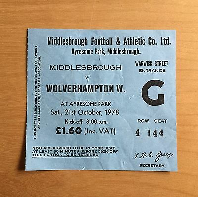 Used Ticket MIDDLESBROUGH v WOLVERHAMPTON WANDERERS 21/10/1978