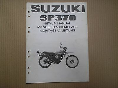 Suzuki SP 370 SP370 genuine SET-UP ASSEMBLY manual with wiring diagram
