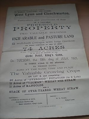 Particulars & Conditions Of Sale Of Property In West Lynn & Clenchwarton In 1921