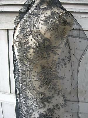 Pristine antique French Chantilly lace flounce / panel 235cms x 32cms