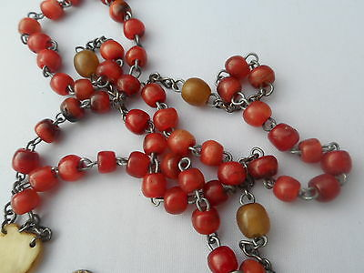 vintage rosary horn,coral