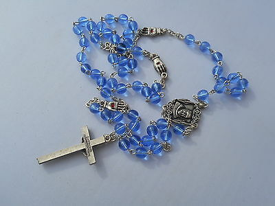 vintage rosary blue glass bleeding hands nailed to cross