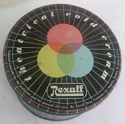Old Vintage 2/3rds Full Tin of Rexall Theatrical Cold Cream Actors Make-up