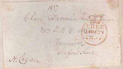GB 1837 Free Frank Front signed H LOGAN (MP West Suffolk