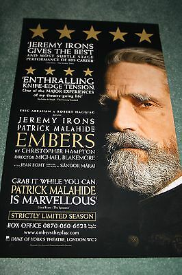 Embers West End theatre poster Jeremy Irons