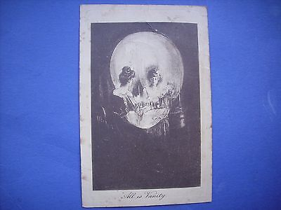 """1907 POSTCARD """"ALL IS VANITY"""" OPTICAL ILLUSION of SKULL / LADY LOOKING IN MIRROR"""