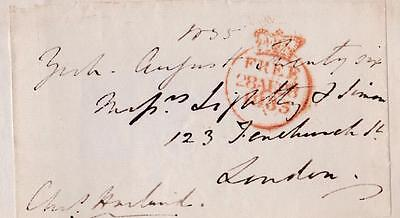 GB 1835 Free Frank Front signed Chas. HARLAND MP Durham City