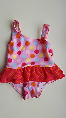 MATALAN baby girl 6-9 months pink red spotted one piece swimming costume