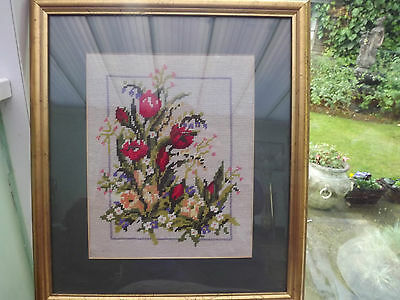Framed and mounted tapestry picture, tulips and spring flowers, size 17 x 18 ins