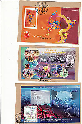 Hong Kong - About Year 2000 3 Used Minature Sheets On Piece