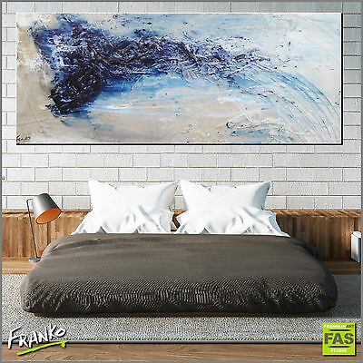 Modern Blue Abstract Art Painting Textured Canvas 200cm x 80cm Franko Australia