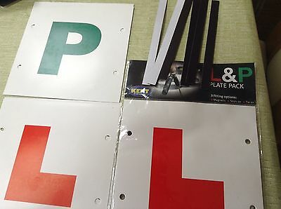 New Learner Driver L & P Plates Magnetic / Stick / Tie On Pack Plus Extras
