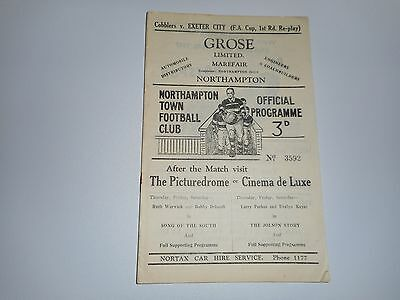 NORTHAMPTON TOWN  v  EXETER CITY  1947/8 F A CUP 1st ROUND - REPLAY DEC6 *SCARCE